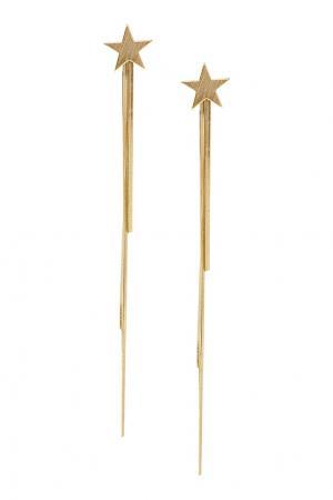 Золотистые серьги со звездами Aqua. Цвет: золотой