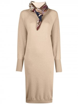 Кашемировое платье миди с платком Salvatore Ferragamo. Цвет: нейтральные цвета