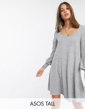 Свободное мягкое платье мини с длинными рукавами ASOS DESIGN Tall-Серый Tall