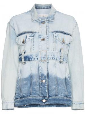 Джинсовая куртка с ремнем выцветшим эффектом Golden Goose Deluxe Brand. Цвет: синий