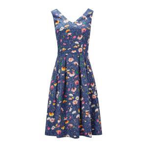 Платье расклешенное без рукавов с цветочным рисунком JOE BROWNS. Цвет: синий/рисунок