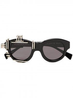 Солнцезащитные очки L2 в оправе кошачий глаз Kuboraum. Цвет: черный