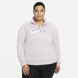 Женская беговая футболка Nike Swoosh Run (большие размеры) - Пурпурный