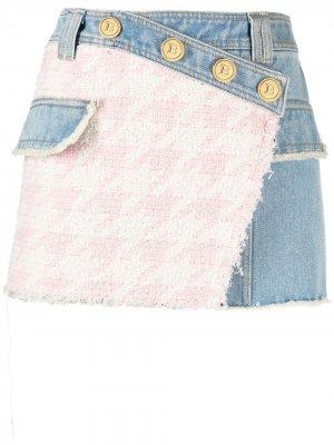 Джинсовая юбка с твидовой вставкой Balmain. Цвет: синий