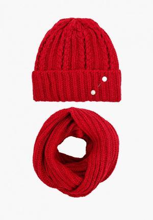 Комплект TrendyAngel шапка, брошь и снуд 35х130 см. Цвет: красный