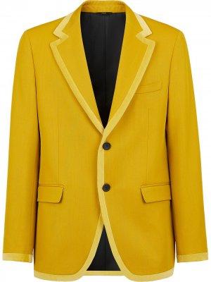 Пиджак с окантовкой Fendi. Цвет: желтый