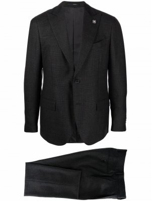 Клетчатый костюм с однобортным пиджаком Lardini. Цвет: черный