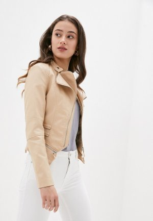 Куртка кожаная Softy. Цвет: бежевый