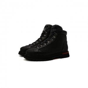 Кожаные ботинки Santoni. Цвет: чёрный