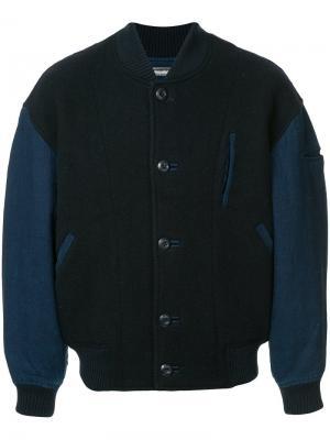 Двухцветная куртка-бомбер Issey Miyake Vintage. Цвет: синий