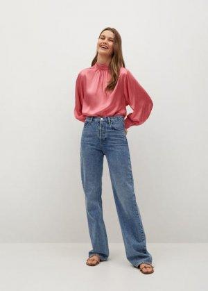 Струящаяся атласная блузка - Flamin-a Mango. Цвет: розовый