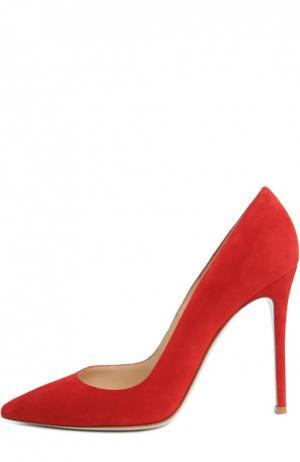 Замшевые туфли Gianvito 105 на шпильке Rossi. Цвет: красный