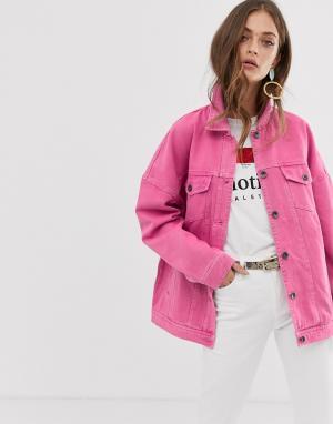 Выбеленная джинсовая куртка -Розовый Vero Moda
