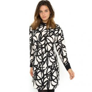Платье с длинными рукавами и сплошным рисунком SONGE GAT RIMON. Цвет: рисунок черный/экрю