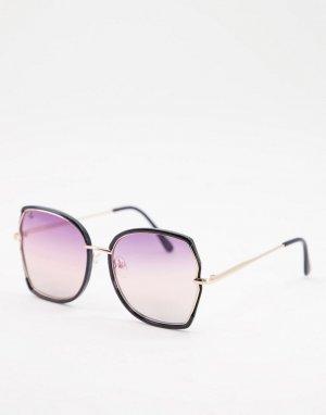 Большие квадратные солнцезащитные очки в стиле унисекс золотистой оправе -Золотистый Jeepers Peepers