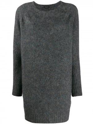 Длинный пуловер Roberto Collina. Цвет: серый