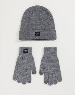 Серые шапка и перчатки -Серый Jack & Jones
