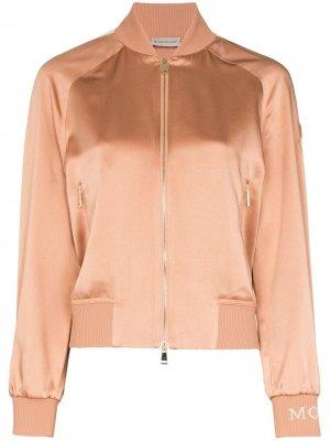 Куртка-бомбер с полосками на рукавах Moncler. Цвет: розовый