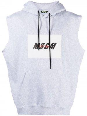 Худи с логотипом MSGM. Цвет: серый