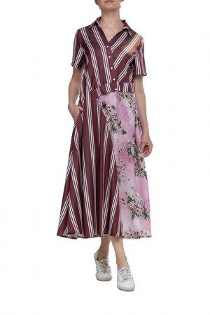 Платье Adzhedo. Цвет: бордо, полоса, розовые цветы
