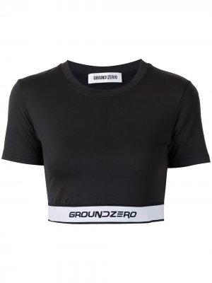Укороченная футболка с логотипом Ground Zero. Цвет: черный