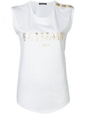 Футболка с пуговицами на плече и принтом логотипа Balmain. Цвет: белый