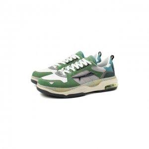 Комбинированные кроссовки Drake Premiata. Цвет: зелёный