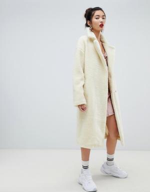 Плюшевое пальто с большим воротником Na-kd-Кремовый NA-KD