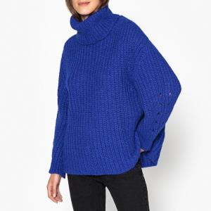 Пуловер с воротником из плотного трикотажа EMERA BA&SH. Цвет: синий королевский