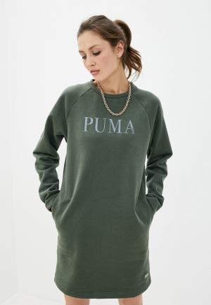 Платье PUMA Athletics Dress FL. Цвет: хаки