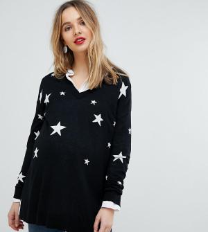 Трикотажный джемпер с V-образным вырезом и принтом звезд Isabella Oliver. Цвет: черный
