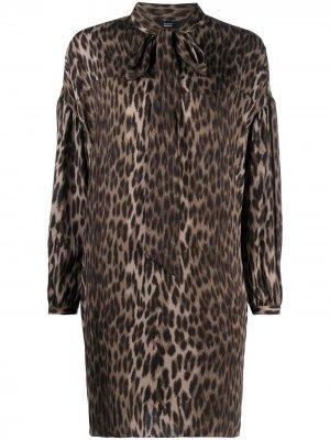 Платье-рубашка с леопардовым принтом и бантом Steffen Schraut. Цвет: нейтральные цвета