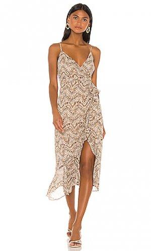 Платье миди ellie Bardot. Цвет: коричневый