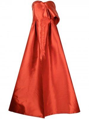 Вечернее платье на одно плечо Sachin & Babi. Цвет: красный
