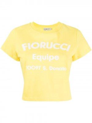 Укороченная футболка Equipe с логотипом Fiorucci. Цвет: желтый