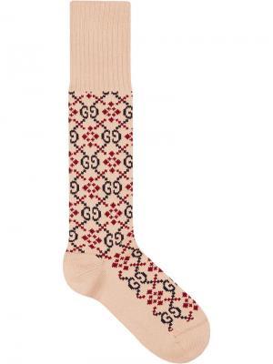 Носки с узором GG Gucci. Цвет: нейтральные цвета