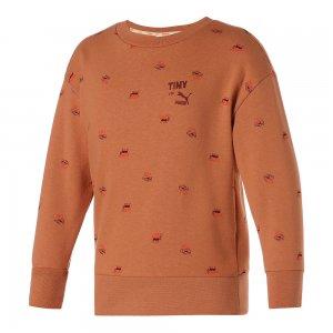 Детская толстовка x TINYCOTTONS Printed Crew Neck Kids Sweatshirt PUMA. Цвет: коричневый