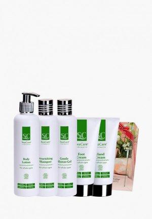 Набор для тела и волос SeaCare органический  СПА №12, крем рук 150 мл + ног лосьон 250 шампунь гель душа. Цвет: зеленый