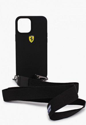 Чехол для iPhone Ferrari 12 Pro Max (6.7), On-track Liquid silicone Strap & metal logo Black. Цвет: черный