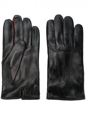 Перчатки с тисненым логотипом PAUL SMITH. Цвет: черный