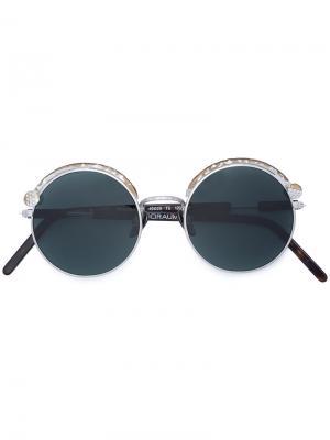 Солнцезащитные очки Z1 в круглой оправе Kuboraum. Цвет: коричневый