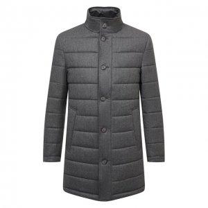 Шерстяное утепленное пальто BOSS. Цвет: серый