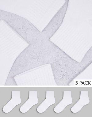 Набор из 5 пар спортивных белых носков -Белый Brave Soul