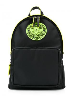 Рюкзак с нашивкой-логотипом Balmain Kids. Цвет: черный