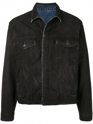 Джинсовая куртка с эффектом потертости SONGZIO. Цвет: черный