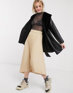 Бежевая юбка миди с плиссировкой -Бежевый Monki