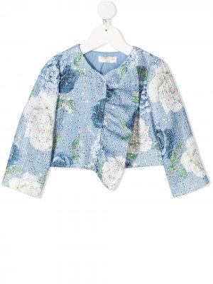 Твидовый пиджак с цветочным принтом Monnalisa. Цвет: синий