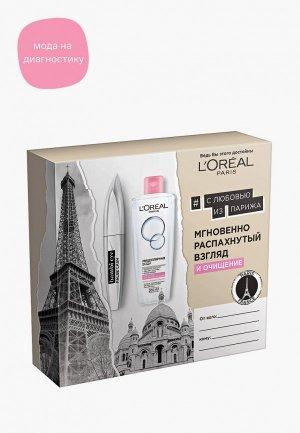 Набор для макияжа глаз LOreal Paris L'Oreal Тушь ресниц Взгляд Бэмби эффект накладных + Мицеллярная вода сухой и чувствительной кожи, черный, 209 мл. Цвет: разноцветный