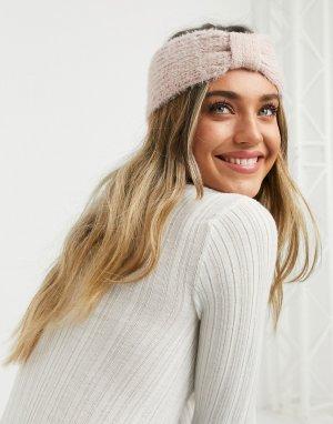 Розовая вязаня повязка на голову London-Розовый My Accessories