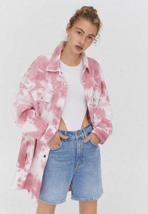 Куртка джинсовая Pull&Bear. Цвет: розовый